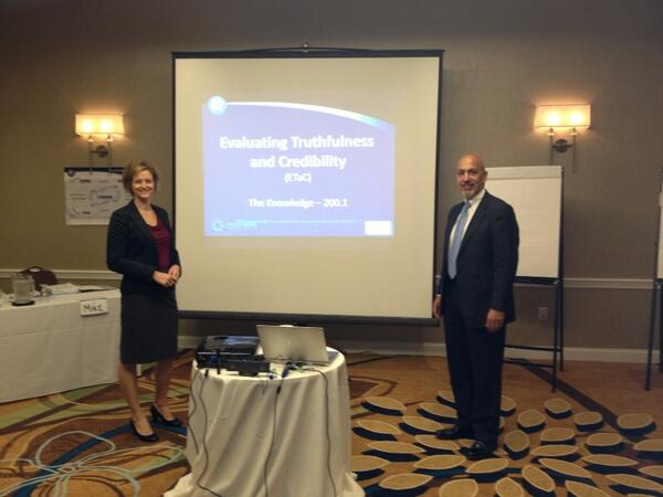 Maggie Pazian and Michael Palestina kicking off the Evaluating Truthfulness and Credibility Course